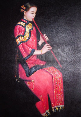 Hand Painted Chinese Woman Oil Painting on Canvas