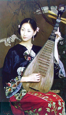 Classical Chinese Woman Plays Pipa Oil Painting