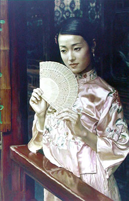 Chinese Woman with a Fan Oil Painting on Canvas