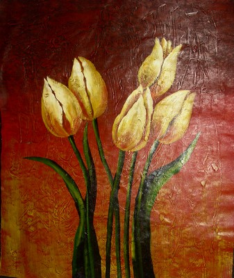 100% Hand Painted Chinese Abstract Oil Painting Flowers