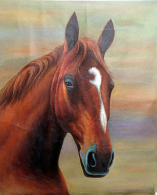 Hand Painted Horse Head Painting on Cavans