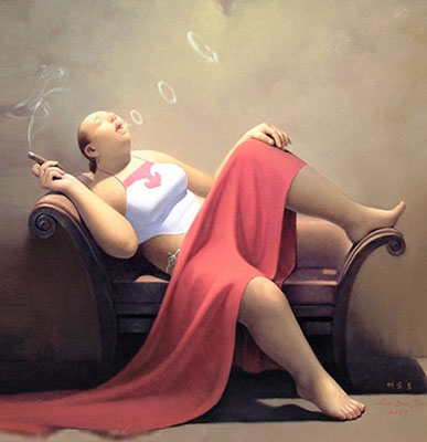Hand Painted Oil Painting Art Chinese Smoking Fat Woman