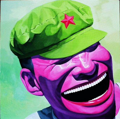 Chinese Big Soldier, Hand Painted Portrait Oil Painting