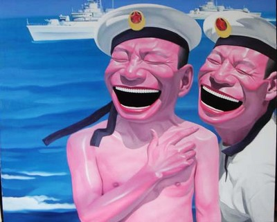 Hand Painted Oil Painting Chinese Navy