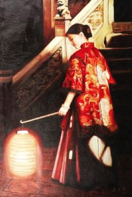 Hand-painted Traditional Chinese Beauty Oil Painting Canvas