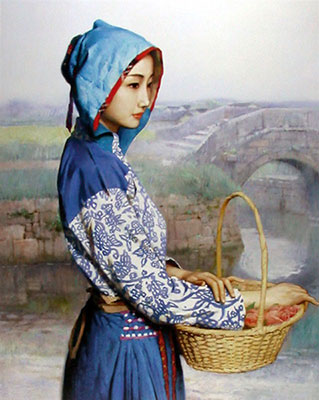 Pick Tea Girl Chinese Oil Painting on Canvas