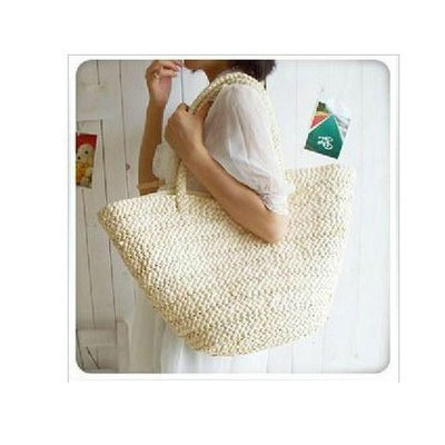 Simple Style Hand Woven Straw Bag