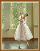Hand Painted Chinese Ballerina Oil Painting
