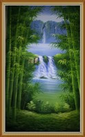 Custom Hand Painted Landscape / Bamboo Oil Painting