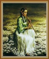 Beauty Flowers Music Chinese Oil Painting