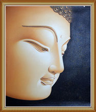 Hand Painted Blinking Buddha Head Portrait Oil Painting
