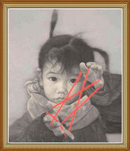 Hand Painted Cute Chinese Child Oil Painting