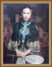 Hand Painted Beatiful Chinese Wonman Oil Painting