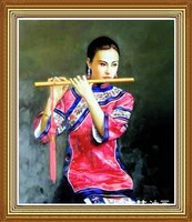 Hand-painted Chinese Beauty Oil Painting