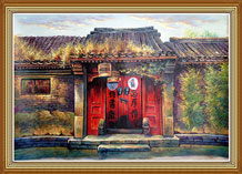 Hand Painted Chinese Folk Art Painting Oil on Cavans Door