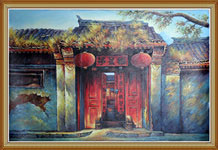 Hand Painted Chinese Folk Art Oil Painting Courtyard Door