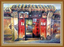 Hand-painted Folk Art Oil Painting on Cavans Chinese Courtyard Door