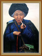 Handpainted Folk Art Oil Painting Old Woman of Chinese Ethnic Minority