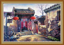 Hand Painted Chinese Folk Art Painting Oil on Cavans Old House