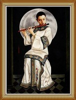 Chinese Beauty Music Oil Painting