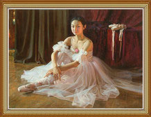 Hand Painted Chinese Oil Painting Ballerina