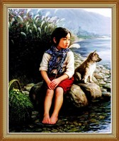 Child Dog by the River Chinese Oil Painting