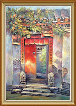 Hand Painted Folk Art Oil Painting on Cavans Chinese Door