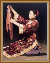 Chinese Woman Love Embroidery Oil Painting on Canvas