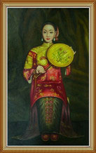 Chinese Woman Fan Oil Painting on Canvas