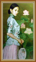 Hand Painted Chinese Woman Flowers Oil Painting