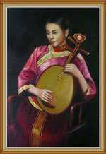 Chinese Woman is Playing Pipa Oil Painting on Canvas