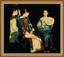 Beauty Classic Chinese Women Oil Painting