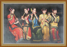 Classical Chinese Women Oil Painting on Canvas