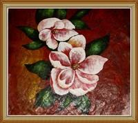 Hand Paited Chinese Abstract Oil Painting Flowers on Canvas