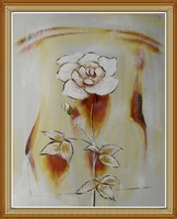 Chinese Abstract Flower Oil Painting Still Life on Canva