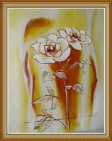 Hand Painted Oil Painting White Flowers Still Life on Canvas