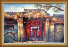 Hand Painted Folk Art Oil Painting on Cavans Chinese Courtyard Doors