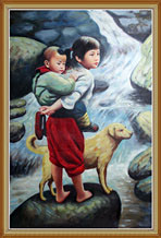 Chinese Girl Carrying Boy Cross River Handmade Oil Painting