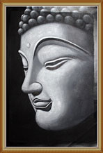 Hand Painted Large Buddha Head Portrait Oil Painting