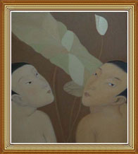 Hand Painted Modern Chinese Men Oil Painting on Canvas