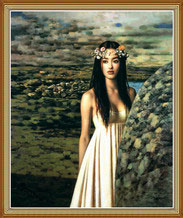 Nature Chinese Girl Oil Painting on Canvas