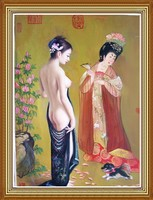Classical Chinese Girl Nude Art Oil Painting