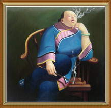 Hand Painted Oil Painting on Canvas, Chinese Smoking Woman