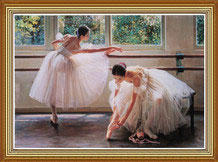 Hand Painted Chinese Oil Painting of Ballerinas