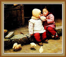 Oil Painting Chinese Children