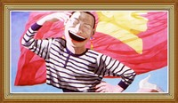 Hand Painted Portrait Oil Painting Chinese Funny Man