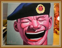 Hand Painted Portrait Oil Painting Chinese Big Soldier
