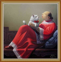 Hand Painted Oil Painting Art Chinese Woman and Cat