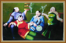 Hand Painted Oil Painting Art Chinese Smoking Women