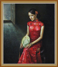 Hand Painted Qipao Woman Oil Painting on Canvas